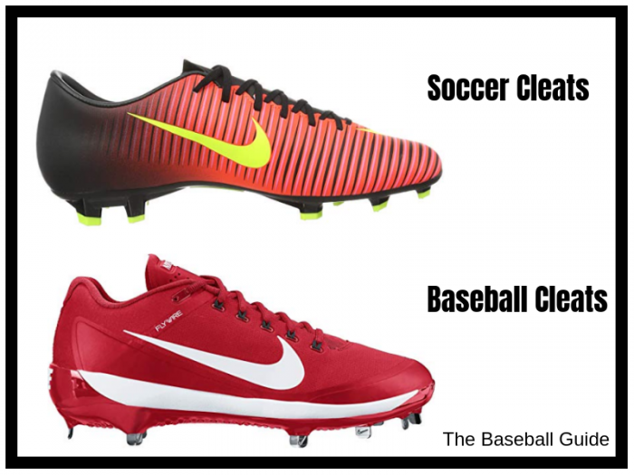 Difference between baseball cleats and soccer cleats