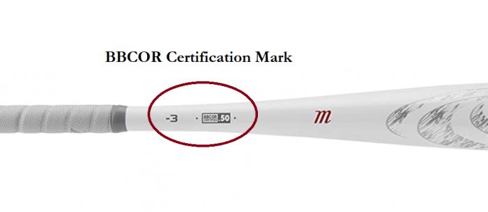BBCOR certification mark on baseball bat